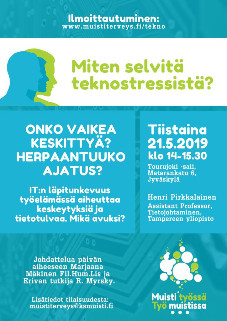 Miten selvitä teknostressistä? Tapahtuma 21.5.2019 Jyväskylässä, ilmoittaudu mukaan!